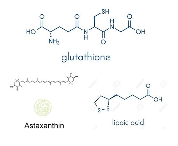 Cấu trúc của Glutathione, Astaxanthin, Axit lipoic