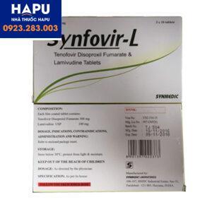Thuốc Synfovir-L -Tenofovir disoproxil fumarat 300mg-Lamivudin 100mg